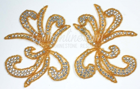 32aa074dc356 1158-3 silver or Gold Rhinestone Applique pair  Glitz and Glamour